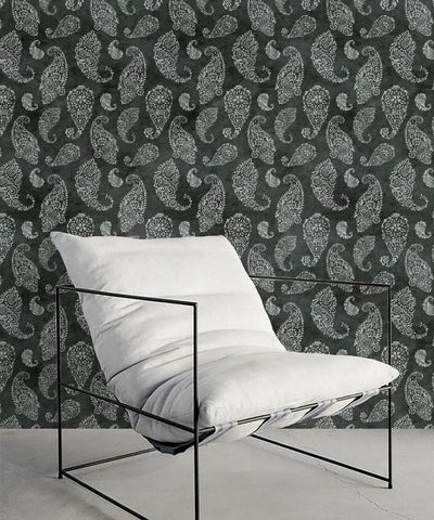 Paisley Wallpaper in Charcoal by Bethany Linz for Milton & King