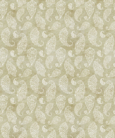 Paisley Wallpaper in Chartreuse by Bethany Linz for Milton & King
