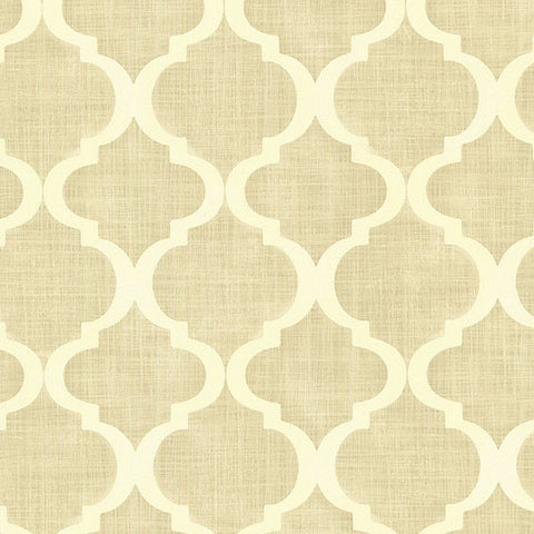 Palace Beige Quatrefoil Wallpaper from the Alhambra Collection by Brewster Home Fashions
