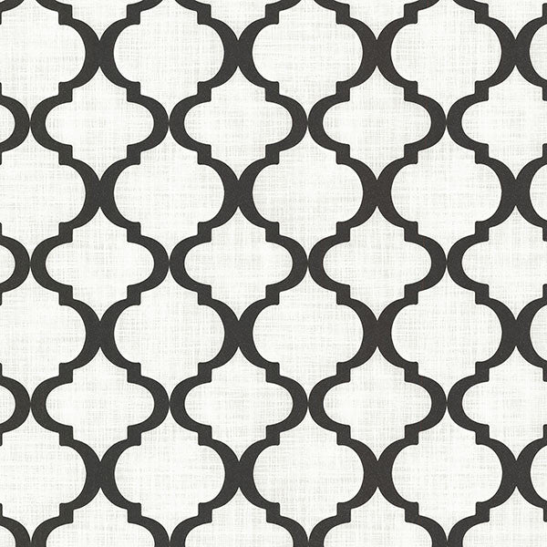 Palace Black and White Quatrefoil Wallpaper from the Alhambra Collection by Brewster Home Fashions
