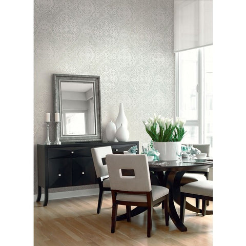 Palladium Damask Wallpaper by Seabrook Wallcoverings