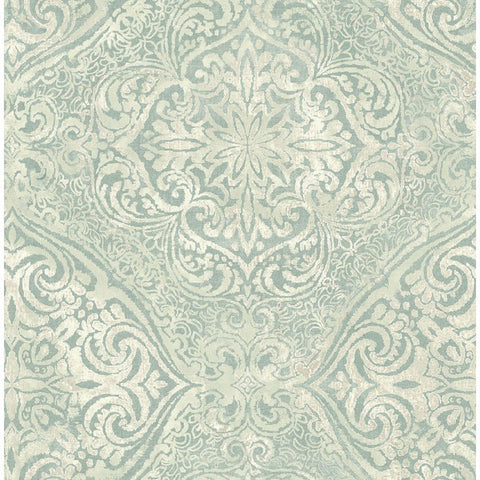 Palladium Damask Wallpaper in Aqua Metallic by Seabrook Wallcoverings