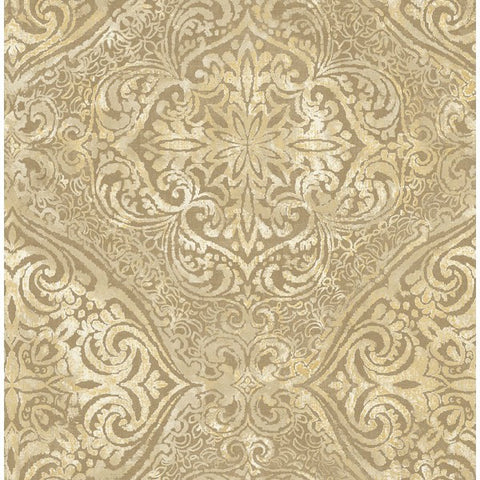 Palladium Damask Wallpaper in Gold by Seabrook Wallcoverings