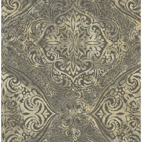 Palladium Damask Wallpaper in Grey and Dark Gold by Seabrook Wallcoverings