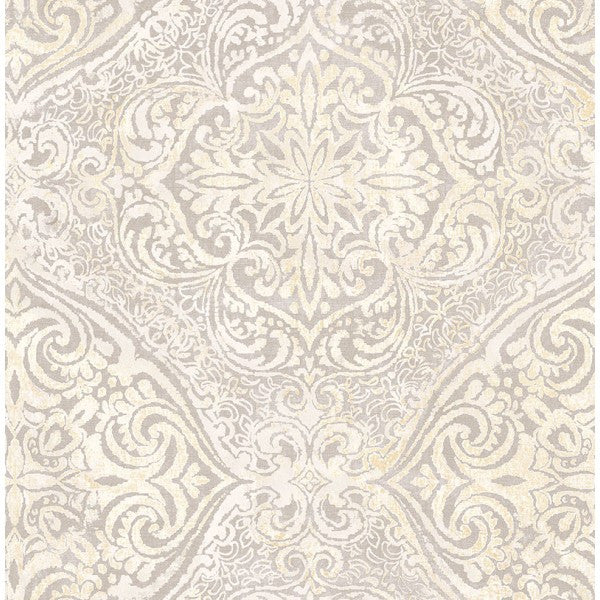 Sample Palladium Damask Wallpaper in Light Silver by Seabrook Wallcoverings