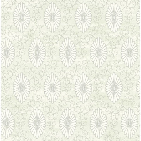 Palladium Medallion Wallpaper in Aqua and Grey by Seabrook Wallcoverings