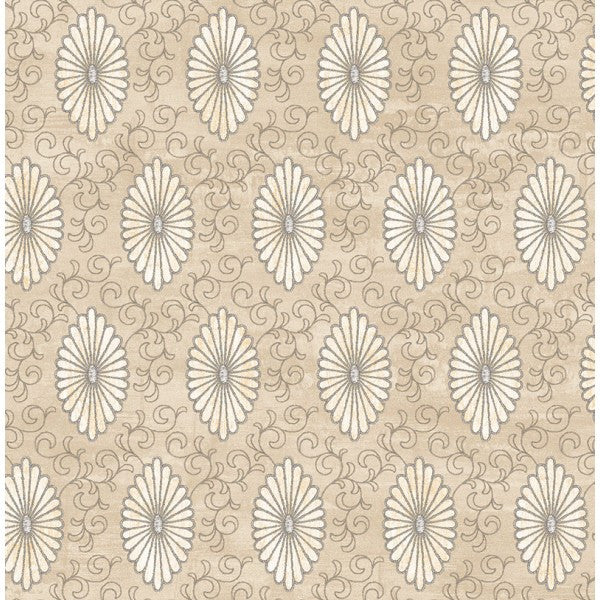 Palladium Medallion Wallpaper in Grey by Seabrook Wallcoverings