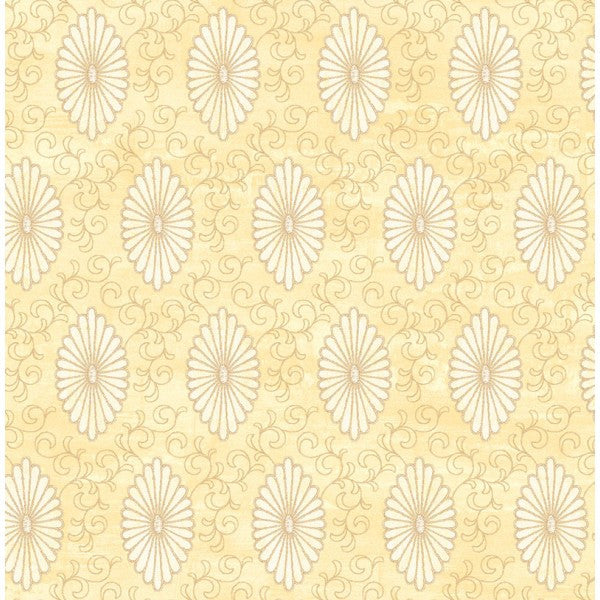 Palladium Medallion Wallpaper in Ivory and Pale Gold by Seabrook Wallcoverings