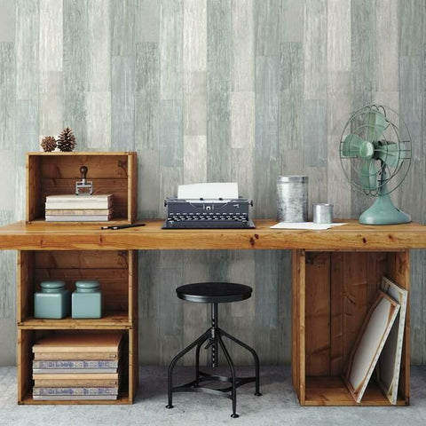 Pallet Board Wallpaper in Blue from the Simply Farmhouse Collection by York Wallcoverings