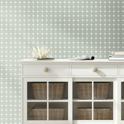 Palm Bay Wallpaper in Fog from the Water's Edge Collection by York Wallcoverings
