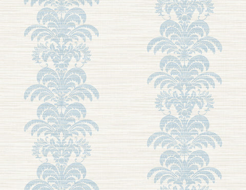 Palm Frond Stripe Stringcloth Wallpaper in Blue Frost and Bone White from the Luxe Retreat Collection by Seabrook Wallcoverings