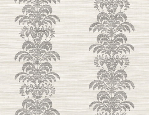 Palm Frond Stripe Stringcloth Wallpaper in Charcoal and Ivory from the Luxe Retreat Collection by Seabrook Wallcoverings
