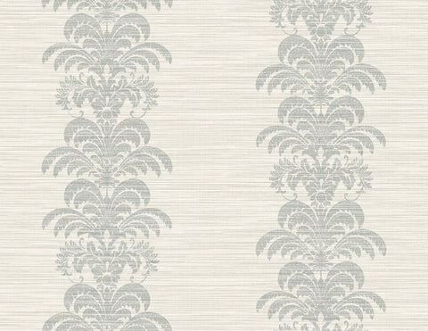 Palm Frond Stripe Stringcloth Wallpaper in Cove Grey and Alabaster from the Luxe Retreat Collection by Seabrook Wallcoverings