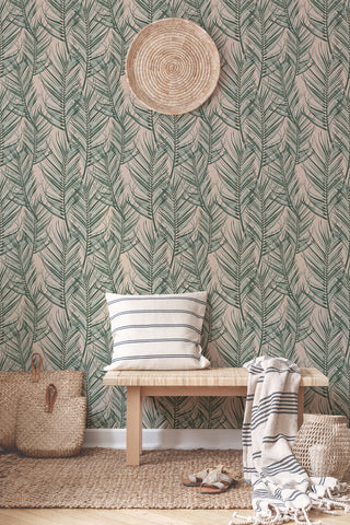 Palm Peel and Stick Wallpaper in Pink and Green from the Transform Collection by Graham & Brown