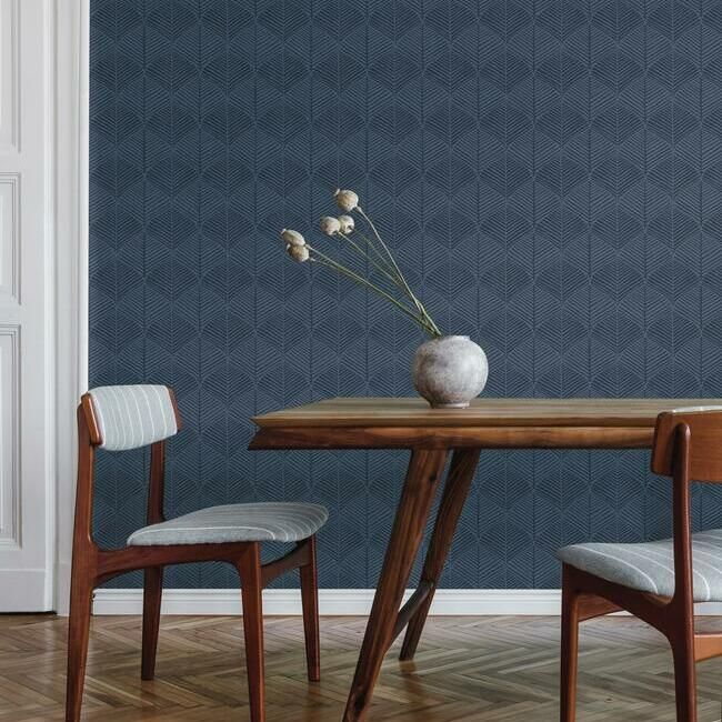 Palm Thatch Wallpaper in Navy from the Silhouettes Collection by York Wallcoverings