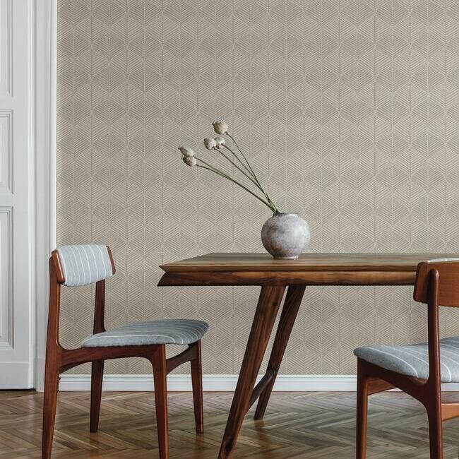 Palm Thatch Wallpaper in Taupe and Grey from the Silhouettes Collection by York Wallcoverings