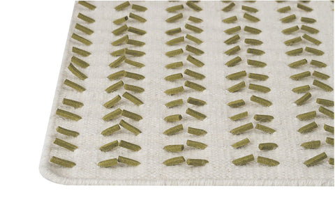 Palm Dale Collection Hand Woven Wool and Felt Area Rug in White and Green design by Mat the Basics