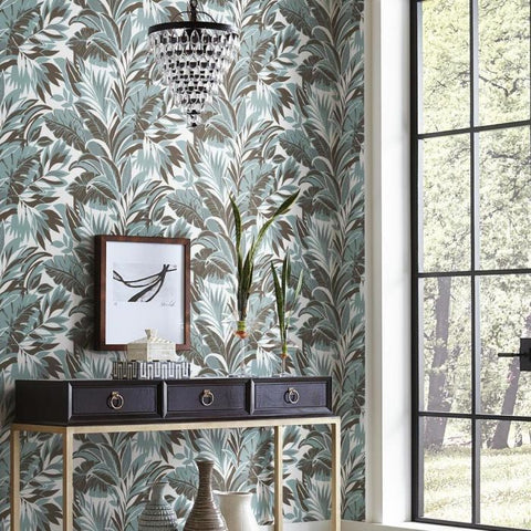 Palm Silhouette Wallpaper in Turquoise and Charcoal from the Conservatory Collection by York Wallcoverings