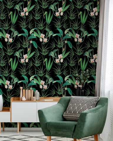 Palm Springs Wallpaper in Anthracite from the Palm Springs Collection by Mind the Gap