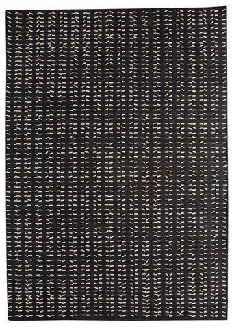 Palmdale Collection Hand Woven Wool and Felt Area Rug in Charcoal and White