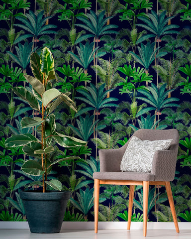 Palmeras Wallpaper in Anthracite from the Palm Springs Collection by Mind the Gap