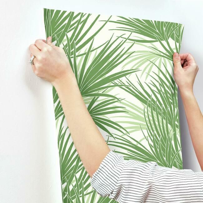 Palmetto Wallpaper in Green from the Silhouettes Collection by York Wallcoverings