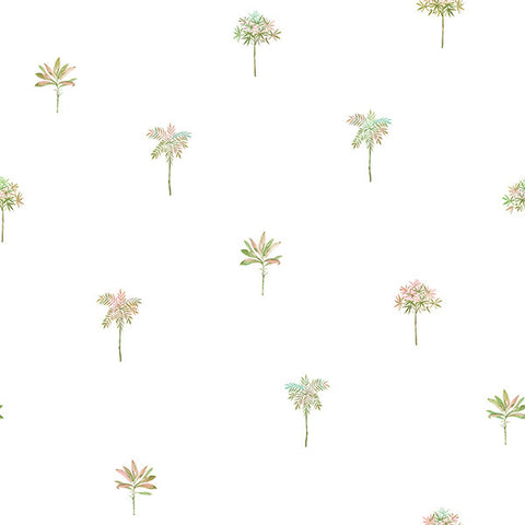 Palmetto Pink Leaves Wallpaper from the Seaside Living Collection by Brewster Home Fashions