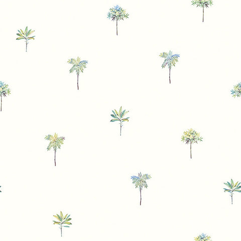 Palmetto Teal Leaves Wallpaper from the Seaside Living Collection by Brewster Home Fashions