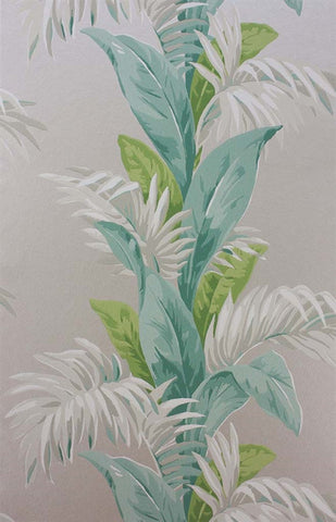 Palmetto Wallpaper in Aqua and Stone by Nina Campbell for Osborne & Little