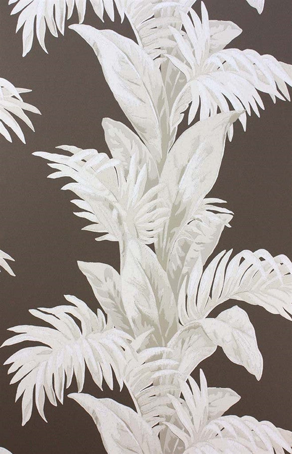 Palmetto Wallpaper in Black and Stone by Nina Campbell for Osborne & Little