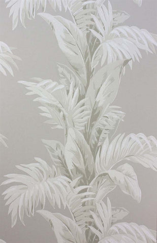 Palmetto Wallpaper in Grey and Ivory by Nina Campbell for Osborne & Little