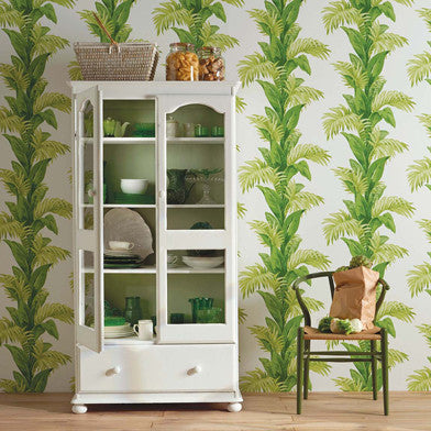 Palmetto Wallpaper in Green and Ivory by Nina Campbell for Osborne & Little