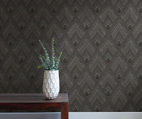 Panama Boho Diamonds Wallpaper in Black Sands and Charcoal from the Boho Rhapsody Collection by Seabrook Wallcoverings