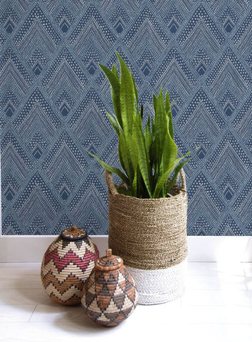 Panama Boho Diamonds Wallpaper in Coastal Blue from the Boho Rhapsody Collection by Seabrook Wallcoverings