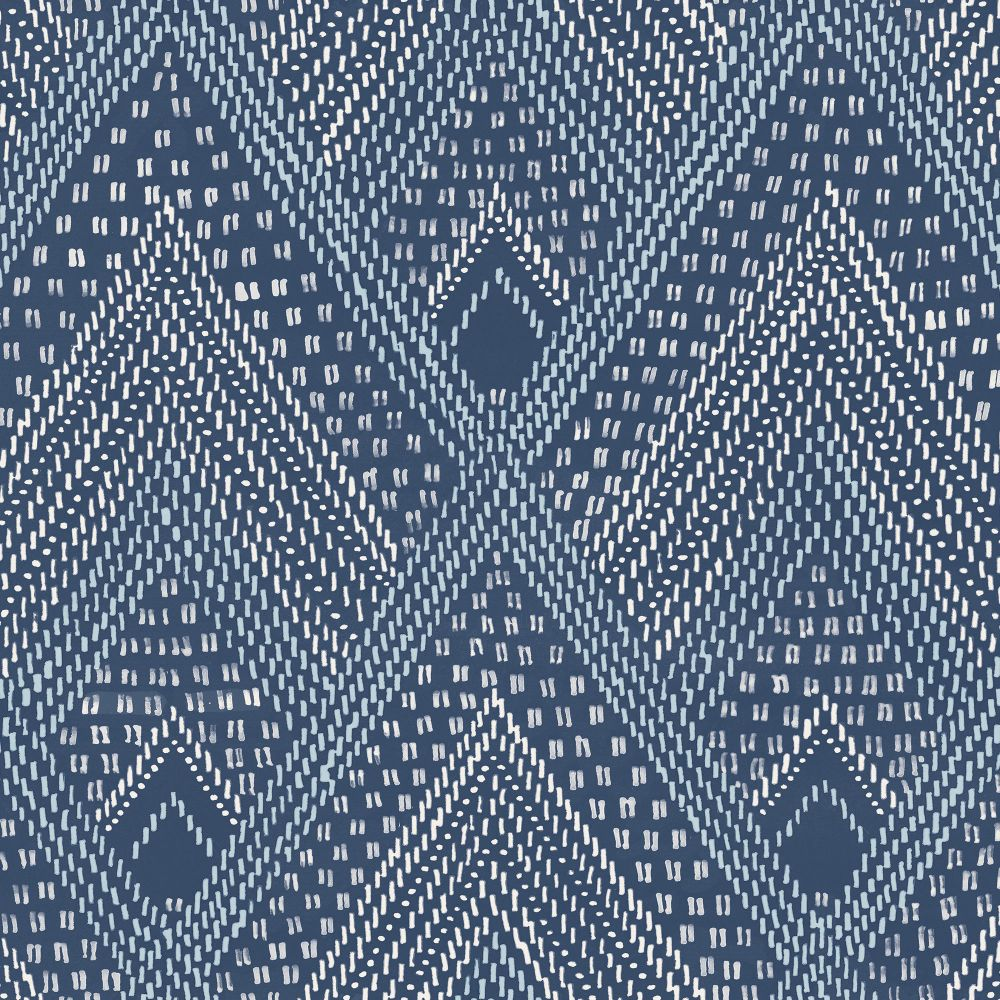 Sample Panama Boho Diamonds Wallpaper in Coastal Blue from the Boho Rhapsody Collection by Seabrook Wallcoverings