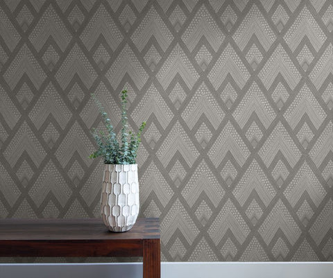 Panama Boho Diamonds Wallpaper in Cove Grey from the Boho Rhapsody Collection by Seabrook Wallcoverings