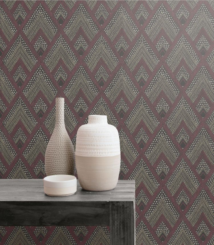 Panama Boho Diamonds Wallpaper in Cranberry and Brushed Ebony from the Boho Rhapsody Collection by Seabrook Wallcoverings