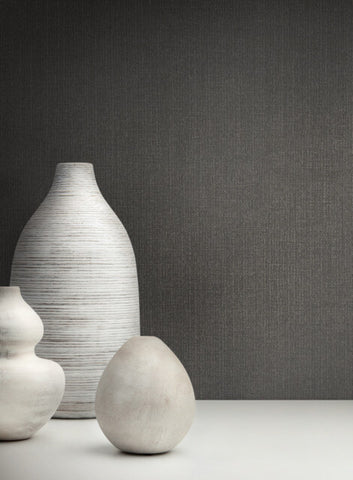 Panama Weave Wallpaper in Charcoal from the Moderne Collection by Stacy Garcia for York Wallcoverings