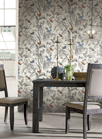 Papillon wallpaper in black and white by ashford house for york wallcoverings