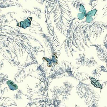 Papillon Wallpaper in Blue by Ashford House for York Wallcoverings
