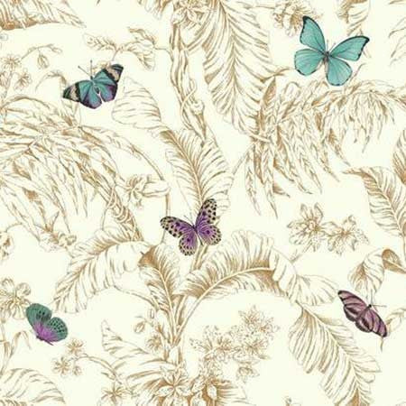 Papillon Wallpaper in Gold and White by Ashford House for York Wallcoverings