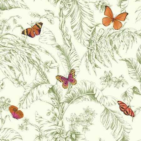 Papillon Wallpaper in Orange, Green, and White by Ashford House for York Wallcoverings