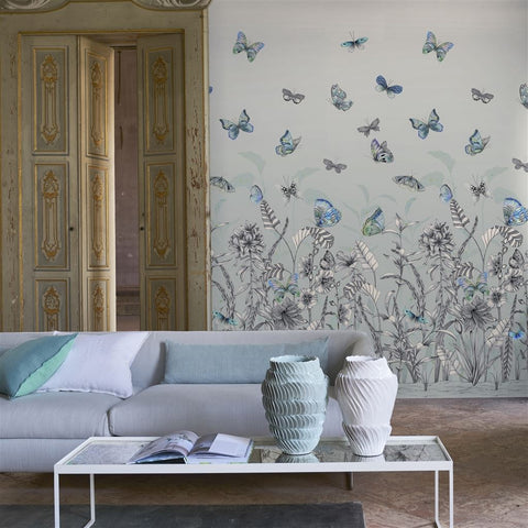Papillons Wall Mural in Eau De Nil from the Mandora Collection by Designers Guild