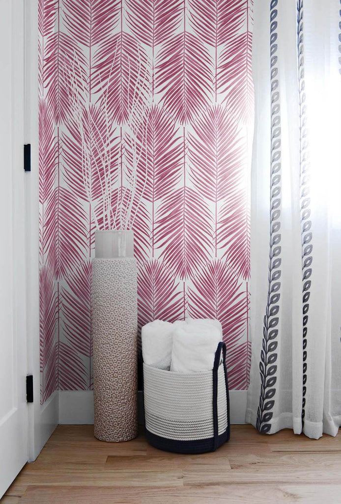 Paradise Palm Peel-and-Stick Wallpaper in Cerise Pink by NextWall