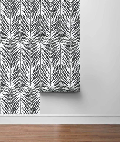 Paradise Palm Peel-and-Stick Wallpaper in Ebony by NextWall