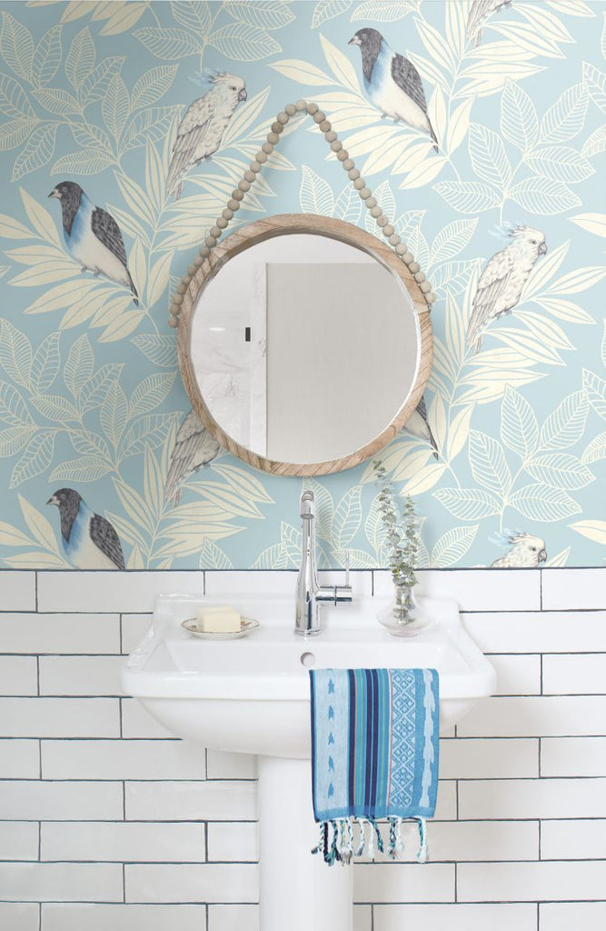 Paradise Island Birds Wallpaper in Blue Oasis and Ivory from the Boho Rhapsody Collection by Seabrook Wallcoverings