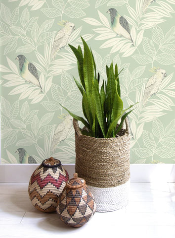 Paradise Island Birds Wallpaper from the Boho Rhapsody Collection by Seabrook Wallcoverings