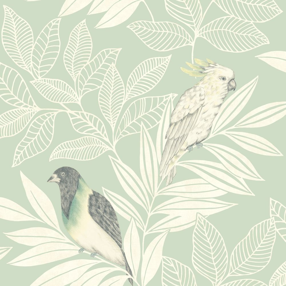 Paradise Island Birds Wallpaper in Mint and Ivory from the Boho Rhapsody Collection by Seabrook Wallcoverings