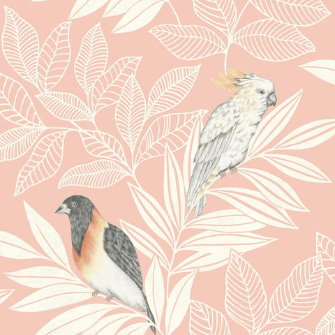 Paradise Island Birds Wallpaper in Pink Sunset and Ivory from the Boho Rhapsody Collection by Seabrook Wallcoverings