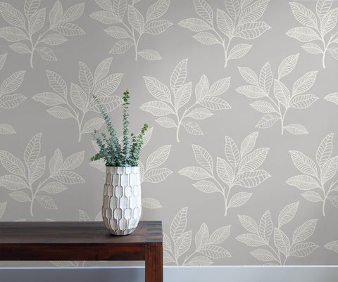 Paradise Leaves Wallpaper in Daydream Grey from the Boho Rhapsody Collection by Seabrook Wallcoverings